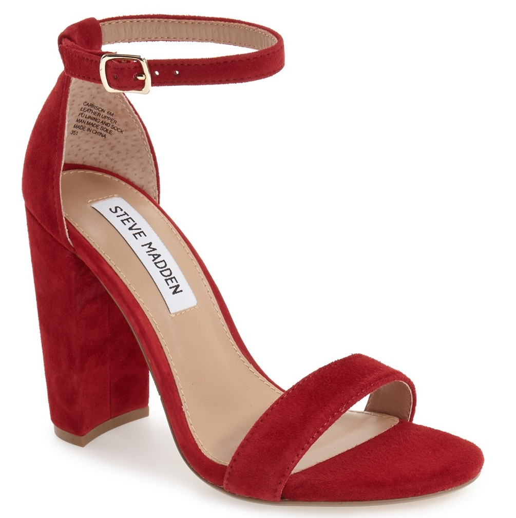 A suede heel in a bold fall color